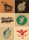 Retro vintage  labels skate whell handmade illustraion 2