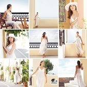 Tourist resort in Greese (Santorini). Collection of many different photos of young and beautiful woman in white dress.