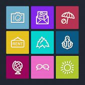 Travel  web icons set 5, color buttons