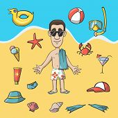 Vacation travel character construction pack