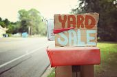 stock photo of yard sale  - Yard Sale sign on a mailbox - JPG