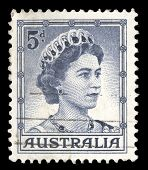 AUSTRALIA - CIRCA 1959: A stamp printed in Australia shows Portrait of Queen Elizabeth II, without inscriptions, from the series