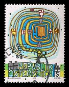 AUSTRIA - CIRCA 1975: a stamp printed in the Austria shows The Spiral Tree, by Friedenstreich Hunder
