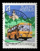 AUSTRIA - CIRCA 1982: stamp printed by Austria, shows Post Bus, palace, trees, circa 1982