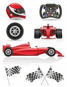 Set Racing Icons Vector Illustration Eps 10