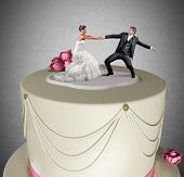 stock photo of adultery  - Concept of Escape from marriage over the cake - JPG