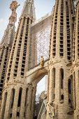Barcelona, Spain - July 10, 2014: La Sagrada Familia - Detail Of The Impressive Cathedral Designed B