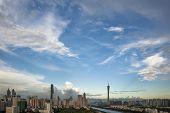 skyline in guangzhou guangdong china.