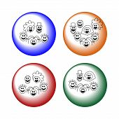 picture of niece  - Simple stylized smiling faces on colourful buttons - JPG