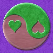 Yin-yang Heart Symbol With Seamless Generated Texture Background