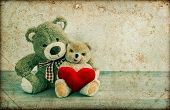 Teddy Bears Couple With Red Heart. Valentines Day Concept