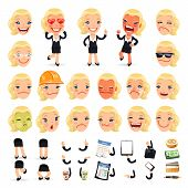 Set of Cartoon Businesswoman Character for Your Design