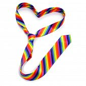 a rainbow tie forming a heart, depicting the concept of gay love, on a white background