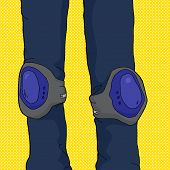 Person Wearing Knee Pads
