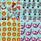 Set 4 Seamless pattern with funny cute animal face on a blue bac