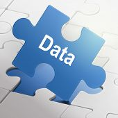 Data Word On Blue Puzzle Pieces
