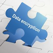 Data Encryption On Blue Puzzle Pieces