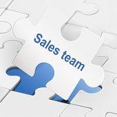 Sales Team On White Puzzle Pieces