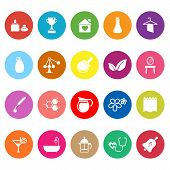 Spa Treatment Flat Icons On White Background