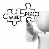 Value And Price Words Written By 3D Man