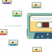 Audio cassette flat vector illustration.