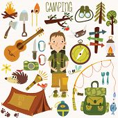 stock photo of boy scout  - Bright camping equipment icon set in vector - JPG