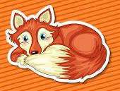 Illustration of a single fox relaxing