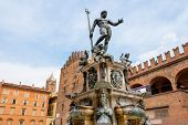stock photo of trident  - The Neptune Fountain in Piazza del Nettuno. Bologna Emilia Romagna Italy