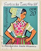 EAST GERMANY- CIRCA 1971: stamp printed in Germany shows Dance Costume circa 1971.
