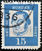 GERMANY - CIRCA 1961: A stamp printed in Germany shows portrait of Martin Luther circa 1961