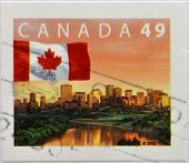 CANADA - CIRCA 2003: A stamp printed in Canada shows flag
