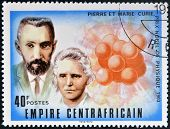 stamp printed in Central African Republic shows Nobel Prize Pierre and Marie Curie