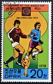 NORTH KOREA - CIRCA 1978: a stamp printed in North Korea shows football players World football cup