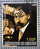 DJIBOUTI - CIRCA 2009: stamp dedicated to French Nobel chemistry prize shows Victor Grignard