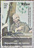 stamp printed in Republic of Guinea in commemoration of the death of Nicola Antonio di Tocco