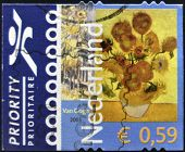 A stamp printed in Netherlands shows Vase with Twelve Sunflowers by Vincent Van Gogh