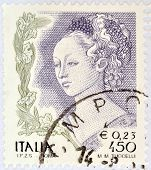 ITALY - CIRCA 2002: A stamp printed in Italy shows detail of Mary Magdalene