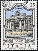 ITALY - CIRCA 1973: a stamp printed in Italy shows illustration of Fontana di Trevi in Rome circa 19