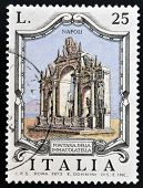 ITALY - CIRCA 1973: a stamp printed in Italy shows Immacolatella Fountain Naples Italy circa 1973