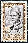 MOROCCO - CIRCA 1957: A stamp printed in Morocco shows Sultan Mohammed V circa 1957