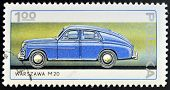 POLAND - CIRCA 1982: A stamp printed in Poland shows passenger car Warszawa M20 circa 1982