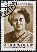 USSR - CIRCA 1984 : A stamp printed in USSR shows Indira Gandhi Indian Prime Minister circa 1984