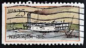 UNITED STATES OF AMERICA - CIRCA 1989: A stamp printed in USA shows Ship Washington (1816) Steamboat