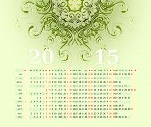 2015 Calendar Horizontal Row