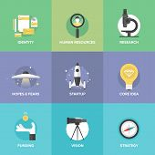 Startup Key Elements Flat Icons