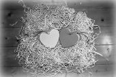 Blank Grey Wooden Love Hearts Together