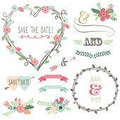 Vintage Wedding Flora Heart Shape-