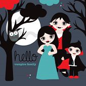 stock photo of night gown  - Hello vampire family full moon and spooky tree halloween postcard cover design illustration in vector - JPG