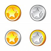 Game coins with stars