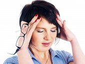 Attractive girl with headache